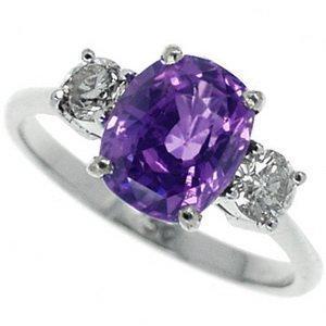 La Scala Purple Sapphire And Diamond Three Stone Ring. 18Ct Wg