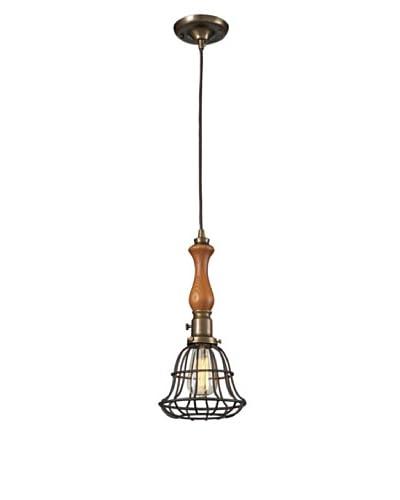 Artistic Lighting Spun Wood 1-Light Pendant with Cage, Vintage Brass/Vintage Rust Finish