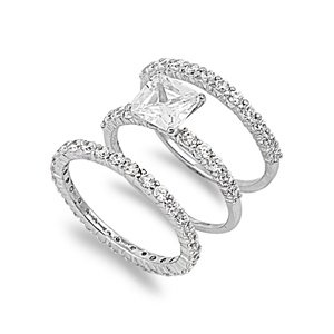 Sterling Silver Wedding Ring Set Ring with Prong Princess-Cut Clear CZ Stones - Size 6