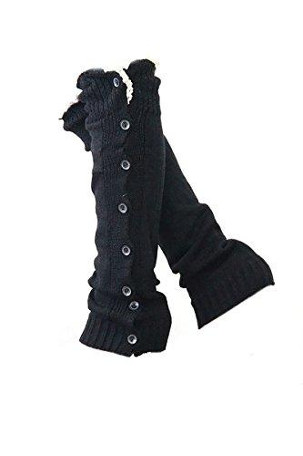 Donne ragazze maglia piatto 8 pulsanti pizzo Crochet Trim Boot polsini Copertina coprigambe tubo calza calza lunga Black