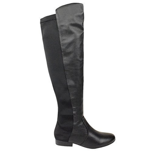 ladies-womens-flat-elasticated-wide-leg-stretch-over-the-knee-high-riding-boots-size-uk-7-eu-40-us-9