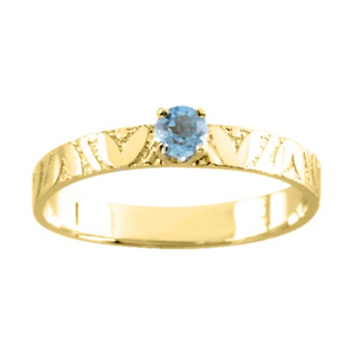 14K Yellow Gold 3 MM Blue Topaz Children's Ring