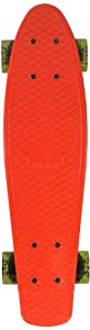 Ridge Skateboard 69 cm 27 Inch Nickel Cruiser Retro Stil M Rollen Komplett Fertig Montiert, Pb-27-Red-Cleargreen