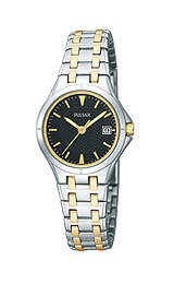 Pulsar Black Dial 2 Tone Stainless Bracelet Dress Sport Ladies Watch