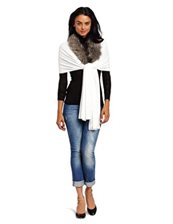 collection eighteen Women's Knitted Wrap with Faux Fur Trim, Ivory, One Size