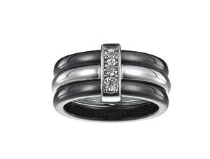 Ceranity - Bague 3 Anneaux - Céramique et Argent 925/1000 - Barrette Diamant 0,015cts - T 52 - 1-18/0003-N