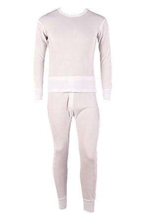 Men's 2pc 100% Cotton Thermal Underwear Set Long Johns-2XL-White
