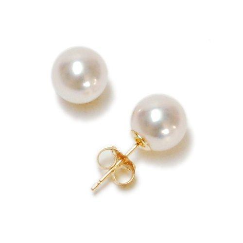 14k Yellow Gold 7.5x8mm AAA Akoya Cultured Pearl Earrings