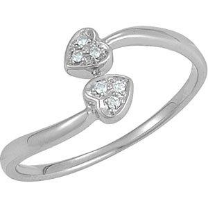 Genuine IceCarats Designer Jewelry Gift Sterling Silver .03 Ct Tw Diamond Heart Ring. .03 Ct Tw Diamond Heart Ring In Sterling Silver Size 8