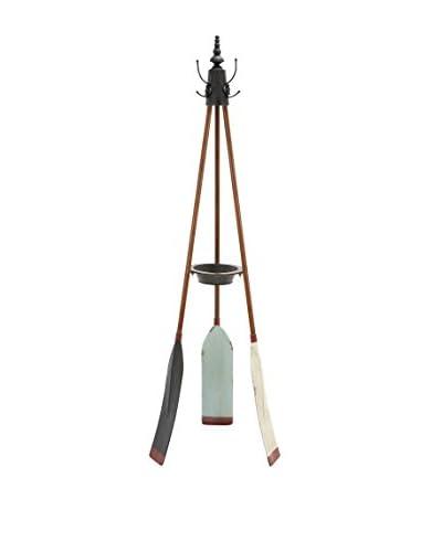 Metal Oar Coat Rack, Brown
