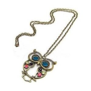 Alittlestyle Vintage jewellery long owl necklace pendant cute retro