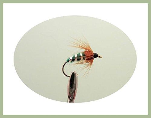 Confezione da 12Sedge pupa Fly-Verde-Ninfa Mosche di Pesca. Mixed misure 10-14