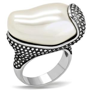 COCKTAIL RING - Beaded High Polished Stainless Steel with Big Round Cut White Stone Bezel Ring