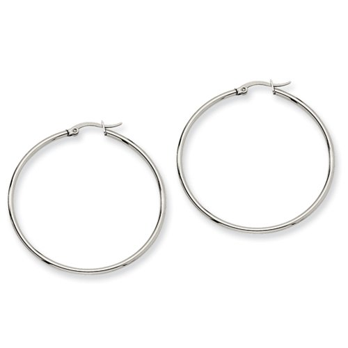 Stainless Steel 48mm Diameter Hoop Earrings