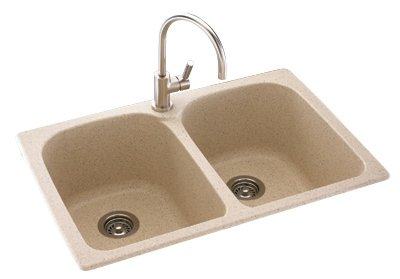 Swanstone KSLB-3322.042 33-Inch by 22-Inch Super Double Bowl Kitchen Sink, Gray Granite