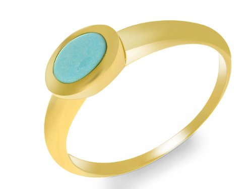 9ct Yellow Gold Turquoise Single Stone Ring