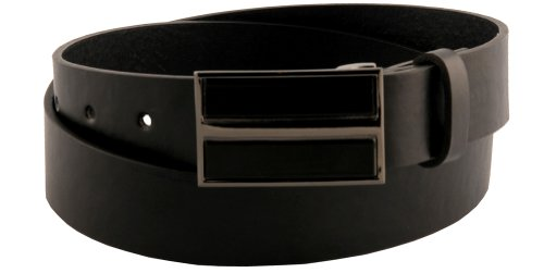 Mens Sleek Black Patent Faux Leather Square Plate Buckle Belt 38