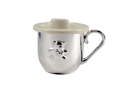 BABY CUP WITH SIPPER LID - BABY CUP W/ SIPPER LID, SILVER PLATED