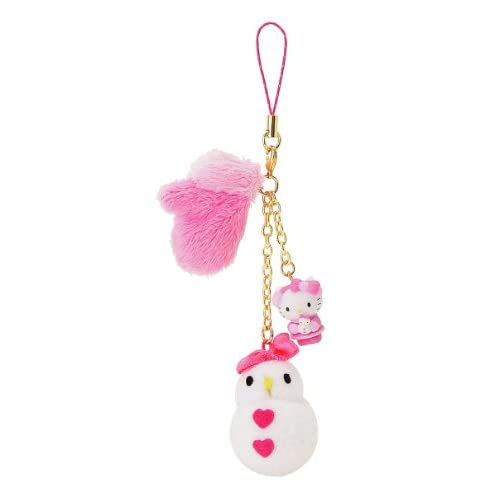 Japanese Sanrio Hello Kitty Cellphone Charm Kitty with Pink Glove and Snowman