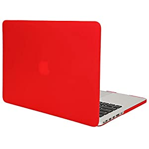 TKOOFN Hard PC Case Crystal Surface Protective Shell & Flannel Storage Bag for Apple 13-inch MacBook Pro with Retina Display (Model: A1502 and A1425), Red - PT9203_A