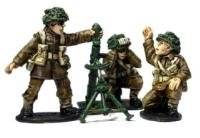 "3"" British Army Mortar Team Miniatures"