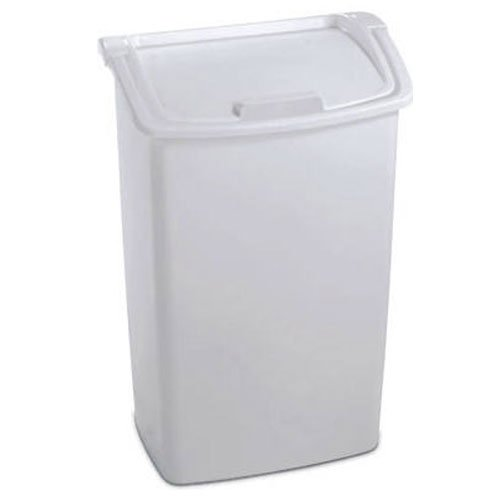 Rubbermaid FG280300WHT Dual-Action Wastebasket, 45-Quart, White (Tall Kitchen Trash Can With Lid compare prices)