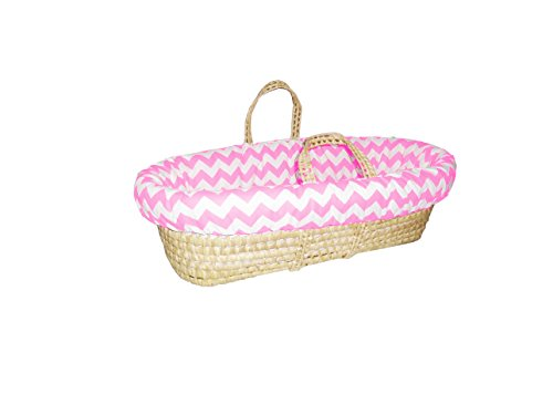 Baby Doll Chevron Moses Basket, Pink
