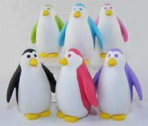 Iwako Set Of 6 JAPANESE PENGUIN PUZZLE ERASERS