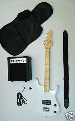 white-junior-kids-mini-3-4-electric-guitar-amp-starter-pack-guitar-temolo-amplifier-gig-bag-strap-ca