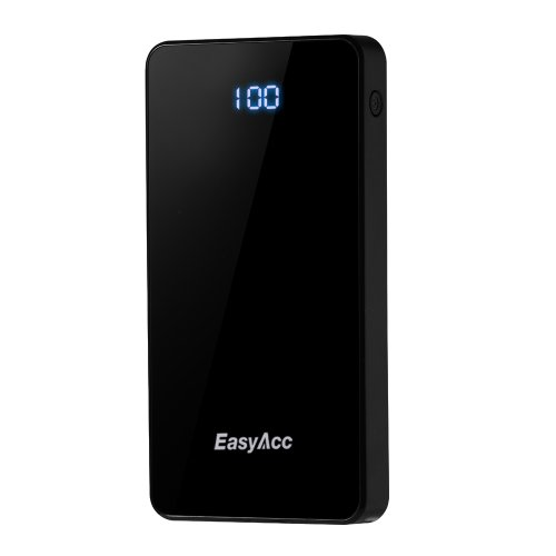Easyacc® 5000Mah Power Bank With Precise Lcd Digital Display Dual Usb Portable Slim External Battery Charger For Iphone Samsung Galaxy Motorola Moto G Nokia Htc Mp3/Mp4 Players Smartphone 5V Tablets - Color:Black