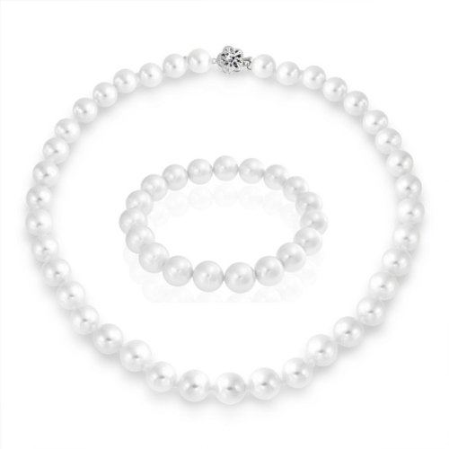 Bling Jewelry South Sea Shell White Pearl Necklace Stretch Bracelet Set 10mm