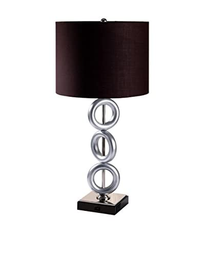 ORE International 3 Ring Metal 1-Light Table Lamp, Brown