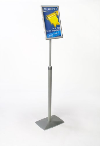 Displays2go Aluminum Height-Adjustable Sign Stand for 11 x 17 Inches Signage, Rotating Frame and Telescoping Pole - Silver (M2XADJ1117)