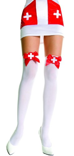 Opaque Thigh Hi Nylon With Bow Costume Hosiery