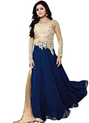 Regalia Ethnic New Collection Navy Blue And Cream Embroidered Georgette Semistitched Dress Material With Matching Dupatta