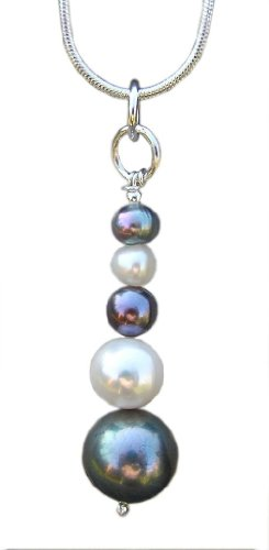 Handmade 925 Sterling Silver , Tahitian and White Pearl Pendant FREE Delivery in UK - Gift Wrapped