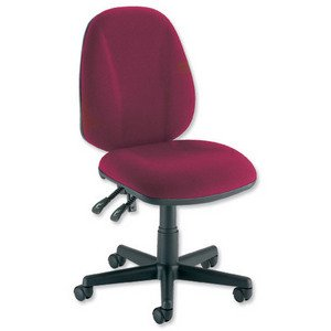 Trexus Intro Operators Chair PCB High Back H490mm Seat W490xD450xH440-560mm Burgundy