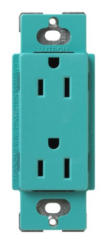 Lutron Scr-15-Tq Satin Colors 15A Electrical Socket Duplex Receptacle, Turquoise