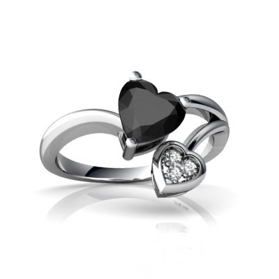 Jewels For Me 14K White Gold Heart Genuine Black Onyx Ring Size Q