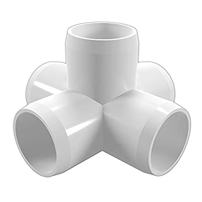 """FORMUFIT F0015WC-WH-4 5-Way Cross PVC Fitting, Furniture Grade, 1"""" Size, White (Pack of 4)"""