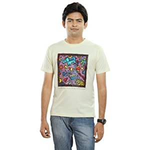 Tantra India 4w's Mens T Shirt - Cream (Size: L)
