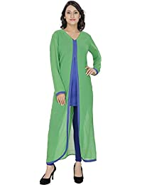 Anekaant Georgette And Cotton And Cotton Lycra Green And Blue Kurti & Legging Set