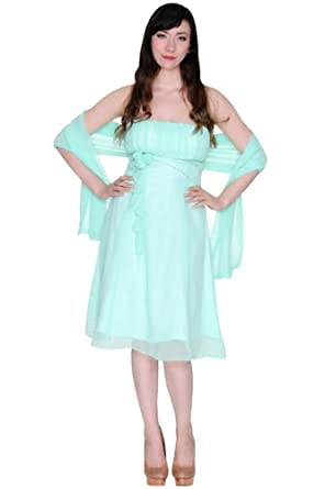 Women's Strapless Chiffon Floral Bridesmaid Prom Short Dress with Shawl-US Size 12