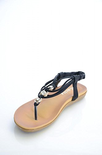 Womens T-Strap Flat Rhinestone Embellished Thong Sandals-Black-7.0 front-39373