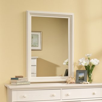 Sauder Harbor View Mirror In Antiqued White back-1041390