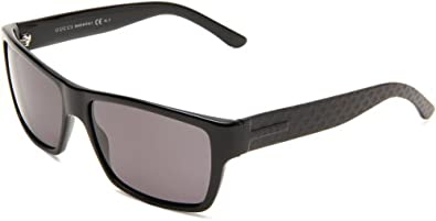 Gucci Men's 1000/S Polarized Wrap Sunglasses,Black Frame/Smoke Polarized Lens,One Size