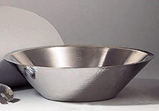 Elegance Hammered 13-Inch Stainless Steel Conical Serving Bowl
