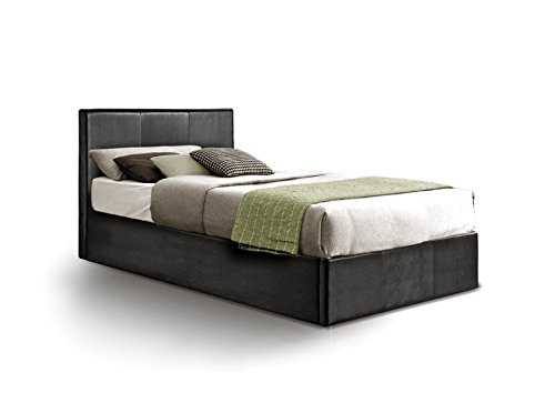 Ottoman Single Storage Bed Upholstered in Faux Leather, 3 ft, Black