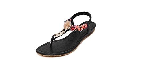 Si& 2016/diamante/pantofole/perline/estate Zeppe/signore/donne/spiaggia/sandali/scarpe , black , 37