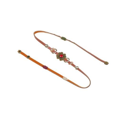 BestDealUSA Stylish Retro Bronze/FAUX Leather Multiply Wrap Flower Bracelet Gift Bangle